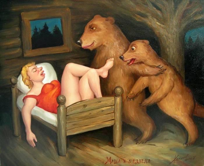 рисунок медведь из кустов
