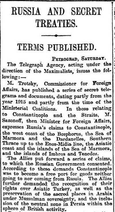 Заметка на 5-ой странице газеты Манчестер Гардиан в номере от 26.11.1917 г. с первым упоминанием Соглашения Сайкса — Пико на английском языке