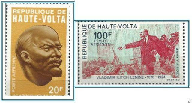 Марки Республики Верхняя Вольта, посвященные Ленину стоимостью 20 и 100 африканских франков