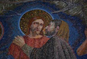 """Мозаика левой апсиды (полукруглого выступа перед алтарем) в Церкви Всех Наций в Гефсиманском саду, где, по преданию, молился Иисус перед казнью (""""моление о чаше"""")"""