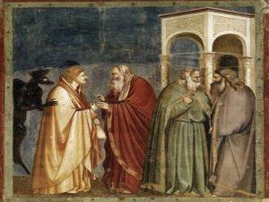 """""""Иуда, получающий плату за предательство». Джотто ди Бондоне, (1267-1337), Флоренция"""
