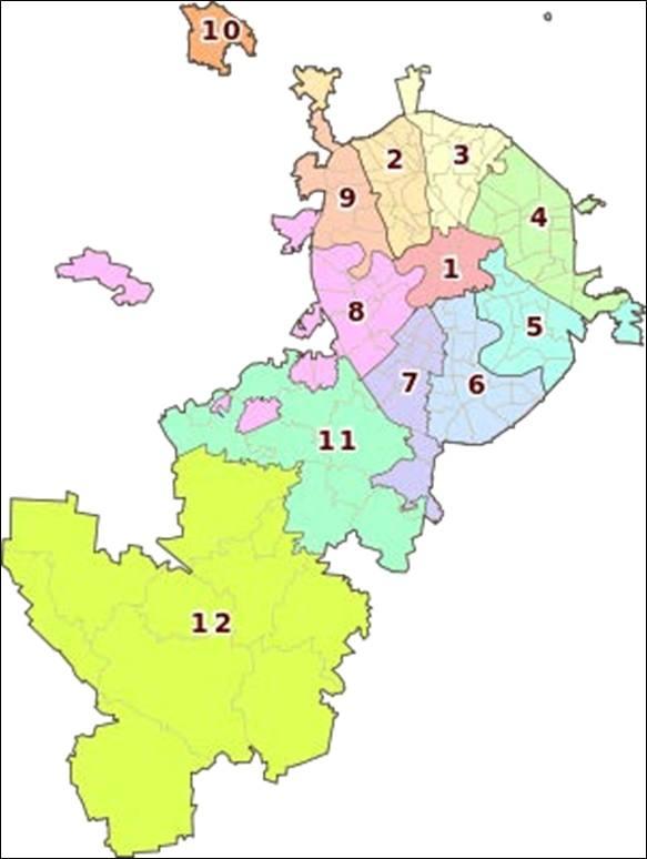Схема административных округов г. Москвы 2012 г.