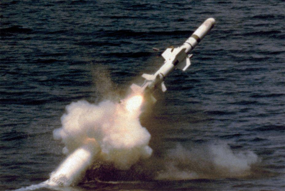 Подводный старт ракеты Harpoon