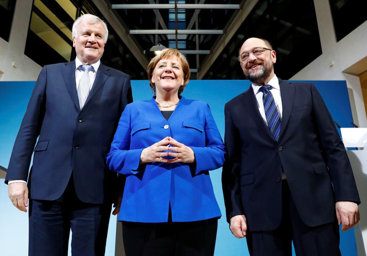 Х. Зеехофер, А. Меркель, М. Шульц