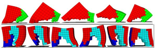 Рис. 11. Различными цветами показаны элементы объемного изображения: красным и зеленым — группы мышц, действующие противоположным образом, синим и голубым — жесткий и мягкий опорные материалы.