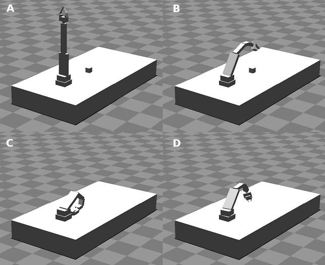 (a) рука робота в исходном положении, с закрытым захватом