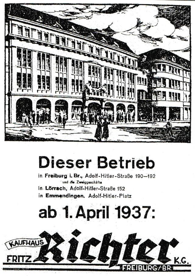 """Объявление в """"Alemannen"""" от 1.4.1937 г."""