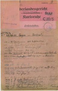 Личная карточка старшего прокурора Доктора Ойгена Вайса, 1936 год