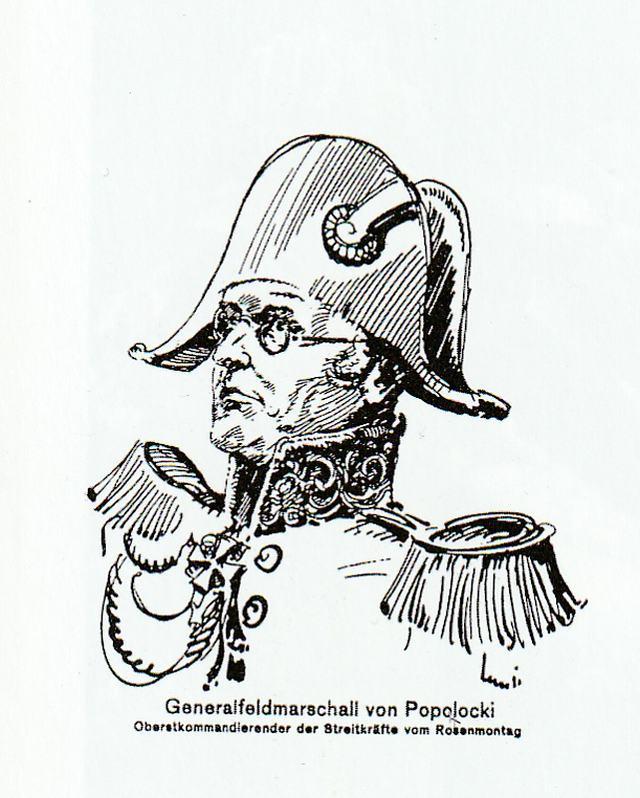 """Портретный рисунок Ганса Поллока как """"генерал-фельдмарщала фон Полоцкий"""", 1929 год"""