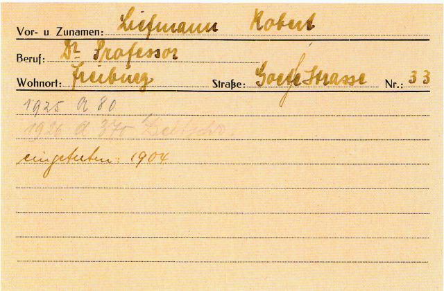 """Личная карточка Роберта Лифмана. Нижняя запись """"вступил в 1904 году"""""""