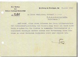 Письмо ректора Фрайбургского университета Вильгельма Зюсса Герхарду Биру от 31.07.1942