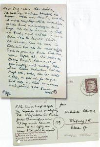 Почтовая открытка Отто Шварца жене, отправленная из Баден-Оос на следующий день после депортации
