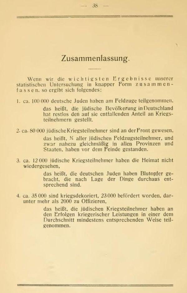 Фрагмент из брошюры Якоба Сегалла: «Немецкие евреи — солдаты в войне 1914-1918 гг.»
